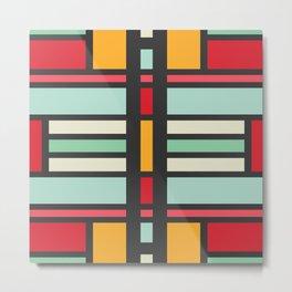 Mirrored rectangles in retro colors Metal Print