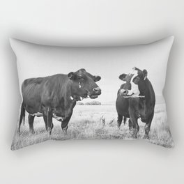 Cattle Photograph in Black and White Rectangular Pillow