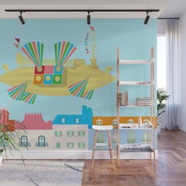 Flapping Fans Dirigible Flying Machine Flying Over City Wall Mural