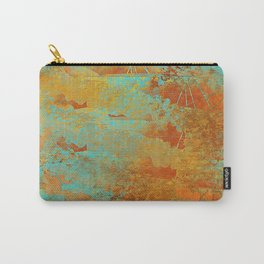 Turquoise and Copper-Red Carry-All Pouch
