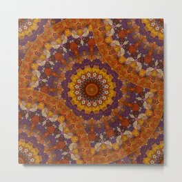 Color Me Autumn Kaleidoscope Mandala  Metal Print