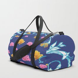 YELLOW  & PINK ROSES BLUE MODERN  ABSTRACT Duffle Bag