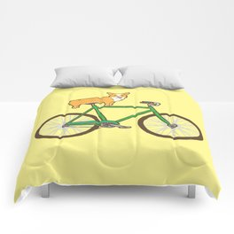 Corgi on a bike Comforters