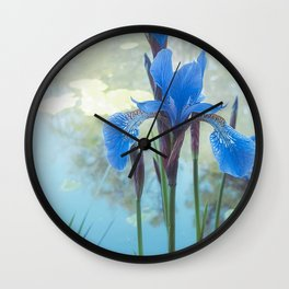 Blue Iris, The Dancing Spirit Of Early Summer Wall Clock