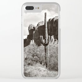 Saguaro in black and white Clear iPhone Case