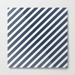 Navy Blue Diagonal Stripes Metal Print