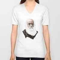 darwin V-neck T-shirts featuring Darwin - great man by graphicbrain