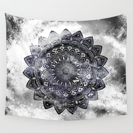 Galaxy Space Mandala (Black and White & Gray Scale) Mystical Adventurous Wall Tapestry