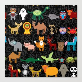 Set of funny cartoon animals character on  black seamless background. zoo. Canvas Print