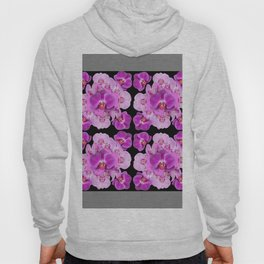 Black-Grey Color Abstracted Modern Purple Moth Orchids Hoody