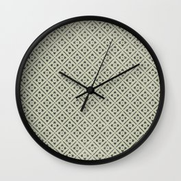 Vintage chic green black geometrical floral pattern Wall Clock