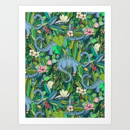 Improbable Botanical with Dinosaurs - dark green Art Print