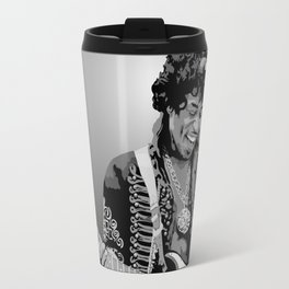 Jimi Hendrix Black And White Illustration Travel Mug
