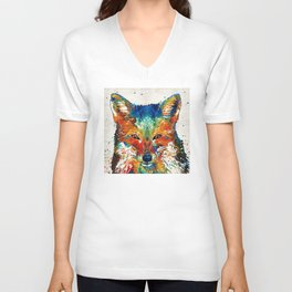 Colorful Fox Art - Foxi - By Sharon Cummings Unisex V-Neck