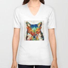 Colorful Fox Art - Foxi - By Sharon Cummings Unisex V-Neck