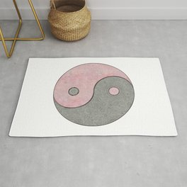 Yin Yang Esoteric Symbol Pastel Pink And Grey Rug