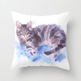 Azure Purr Throw Pillow