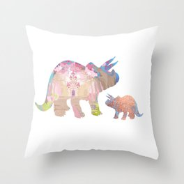 Fairytale Pink Castle Copper Glitter Dinosaur Throw Pillow