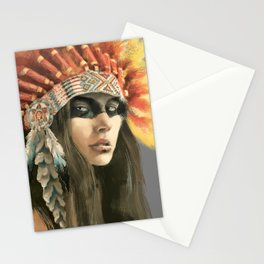 Indian woman in headdress Stationery Cards