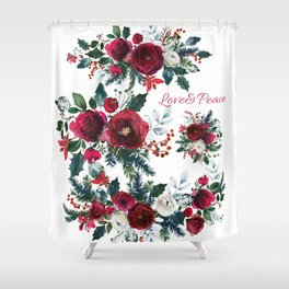 Red burgundy Christmas season floral bouquets love and peace script Shower Curtain