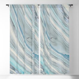 Soft Blue Aqua Marble Elegance Blackout Curtain