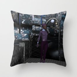 Alien City at Night Throw Pillow