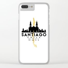 SANTIAGO DE CHILE SILHOUETTE SKYLINE MAP ART Clear iPhone Case