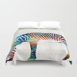 Colorful Zebra Art by Sharon Cummings Duvet Cover