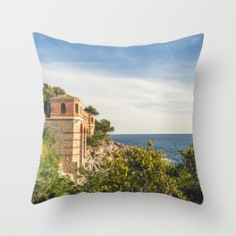 Seacoast of Cap Martin in a sunny winter day Throw Pillow
