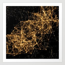 Shiny golden dots connected lines on black Art Print
