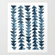 Indigo Triangles Art Print