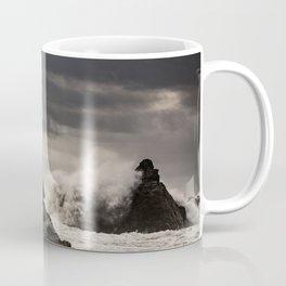 Waves Batter the Ocean Rocks During Rough Weather at Harris Beach State Park in Brookings, Oregon Coffee Mug