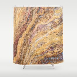 Melting Mustard Rock // Red Accent Natural Earth Textured Unique Cool Accent Decoration Shower Curtain