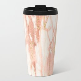 Rose Gold Marble - Rose Gold Yellow Gold Shimmery Metallic Marble Travel Mug