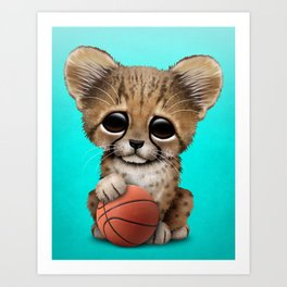 Cheetah Cub Playing With Basketball Art Print