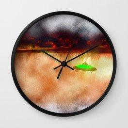 UFO Visits Niagra Falls Wall Clock