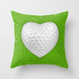 Golf ball heart / 3D render of heart shaped golf ball Throw Pillow