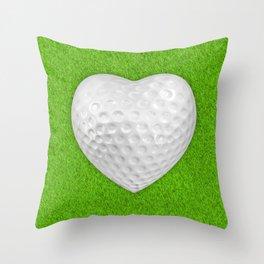 Golf ball heart / 3D render of heart shaped golf ball Throw Pillow