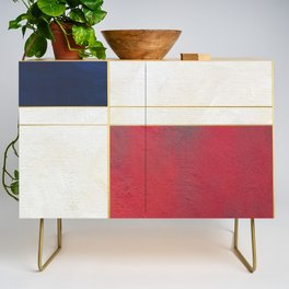Blue, Red And White With Golden Lines Abstract Painting Credenza