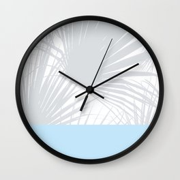 Tropical Pastel Grey Palm Leaves on Soft Blue Wall Clock