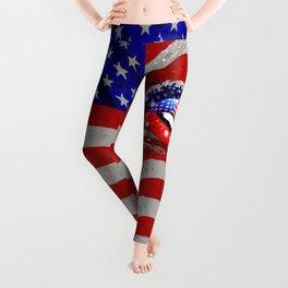 USA Flag Lipstick on Sensual Lips Leggings