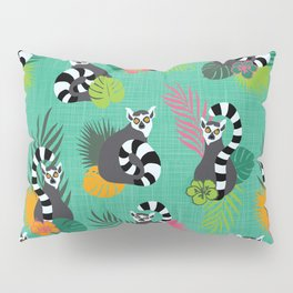 Tropical Lemurs Aquamarine Pillow Sham