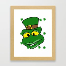 Leprechaun Iguana - St. Patrick's Day Framed Art Print