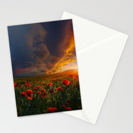 Sunset and Red poppy bloom lovers Stationery Cards