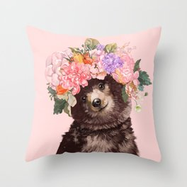 Baby Bear with Flowers Crown Throw Pillow