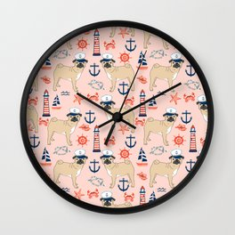 Pug nautical anchor sailing lighthouses dog breed pet portraits by pet friendly Wall Clock