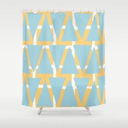 Blue and Yellow Arrowhead Print Shower Curtain