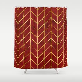 Gold Foil Herringbone on Dark Red Ivy Watercolor Pattern Shower Curtain