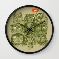sale Wall Clocks featuring Wisdom to the Nines by Rachel Caldwell