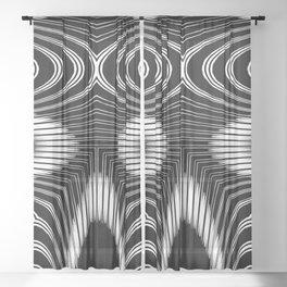 Geometric Black and White Skeleton African-Inspired Pattern Sheer Curtain